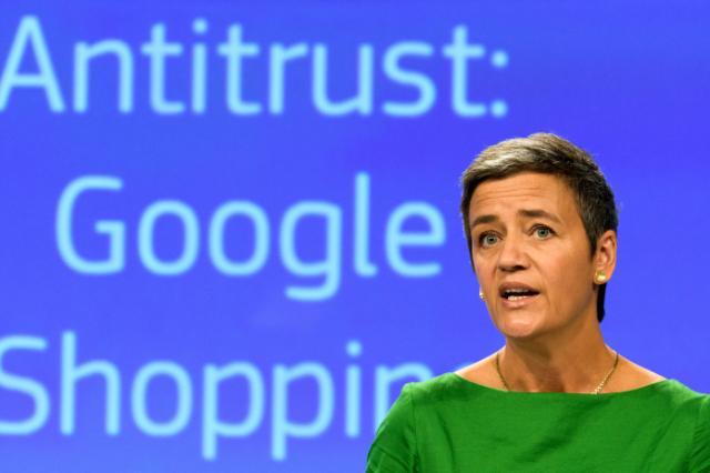 EU-Kommissarin Margrethe Vestager verkündet die Entscheidung im Google-Missbrauchsverfahren