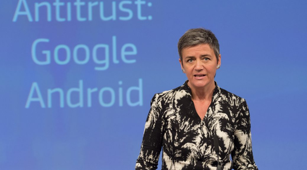 Press conference by Margrethe Vestager on a antitrust case (Google Android)