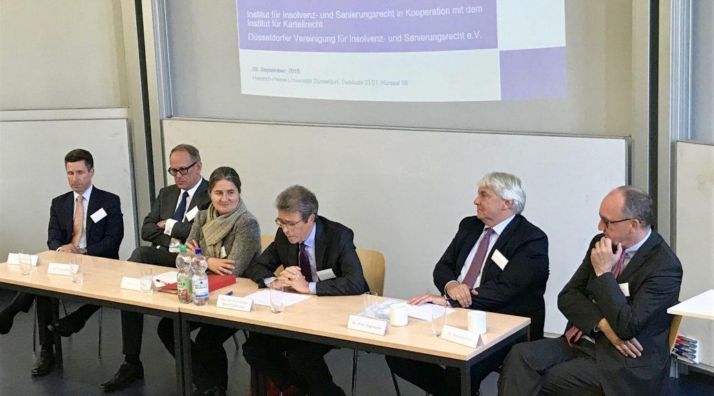 Insolvenzrechtler trafen sich an der Uni Düsseldorf und sprachen über Sanierung und Wettbewerb. Rupprecht Podszun hat vorbeigeschaut und berichtet.